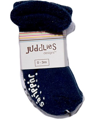 Juddlies Designs Non-skid Baby Sock, Set of 2 Pairs, White/Blue Socks