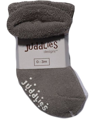 Juddlies Designs Non-skid Baby Sock, Set of 2 Pairs, White/Grey Socks