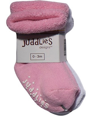 Juddlies Designs Non-skid Baby Sock, Set of 2 Pairs, White/Pink Socks