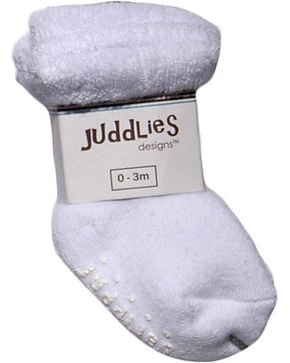 Juddlies Designs Non-skid Baby Sock, Set of 2 Pairs, White Socks