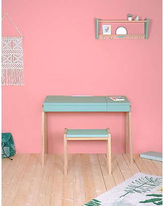 Jungle by Jungle My Great Pupitre, Wooden Desk - Bleached Oak/Mint - Ideal from 6 years! Tables And Chairs