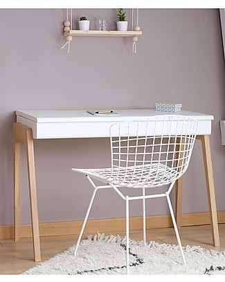 Jungle by Jungle My Great Pupitre, Wooden Desk - Bleached Oak/White - Ideal from 6 years! Tables And Chairs