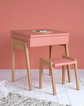 Jungle by Jungle My Little Pupitre, Wooden Children Desk - Bleached Oak/Old Pink - Ideal from 3 to 6 years! Tables And Chairs