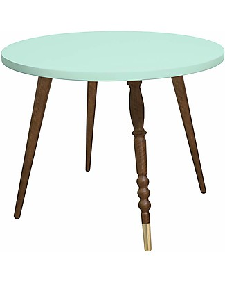 Jungle by Jungle Round Coffee Table My Lovely Ballerine – Mint – Walnut and Brass – Height 47 cm – Diameter 60 cm  Tables And Chairs