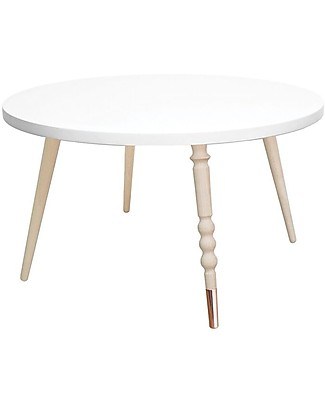 Jungle by Jungle Round Coffee Table My Lovely Ballerine – White – Beech and Brass – Height 37 cm – Diameter 60 cm Tables And Chairs
