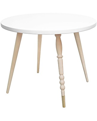 Jungle by Jungle Round Coffee Table My Lovely Ballerine – White – Beech and Brass – Height 47 cm – Diameter 60 cm Tables And Chairs