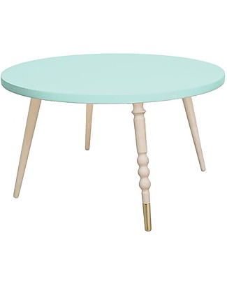 Jungle by Jungle Round Coffee Table My Lovely Ballerine - Mint - Beech and Brass - Height 37 cm - Diameter 60 cm Tables And Chairs