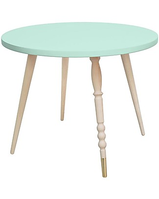 Jungle by Jungle Round Coffee Table My Lovely Ballerine - Mint - Beech and Brass - Height 47 cm - Diameter 60 cm Tables And Chairs
