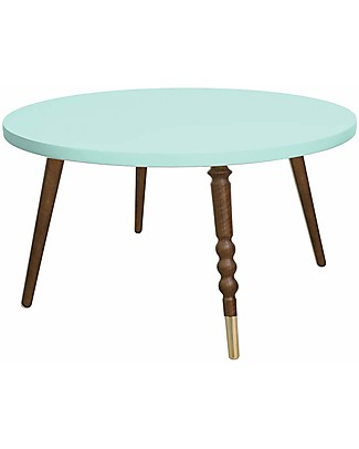 Jungle by Jungle Round Coffee Table My Lovely Ballerine - Mint - Walnut and Brass - Height 37 cm - Diameter 60 cm Tables And Chairs