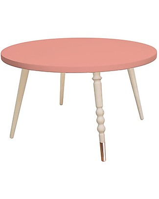 Jungle by Jungle Round Coffee Table My Lovely Ballerine - Old Pink - Beech and Copper - Height 37 cm - Diameter 60 cm Tables And Chairs