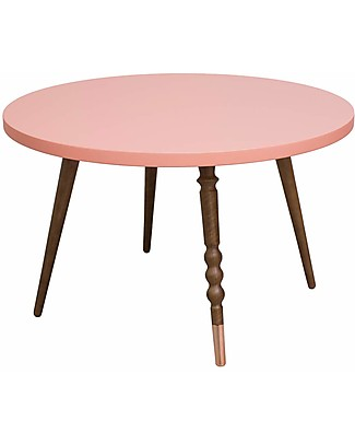 Jungle by Jungle Round Coffee Table My Lovely Ballerine - Old Pink - Walnut and Copper - Height 37 cm - Diameter 60 cm Tables And Chairs