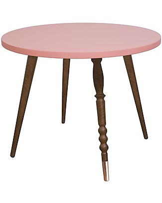 Jungle by Jungle Round Coffee Table My Lovely Ballerine - Old Pink - Walnut and Copper - Height 47 cm - Diameter 60 cm  Tables And Chairs