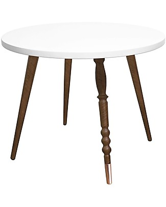 Jungle by Jungle Round Coffee Table My Lovely Ballerine - White - Walnut and Copper - Height 47 cm - Diameter 60 cm Tables And Chairs