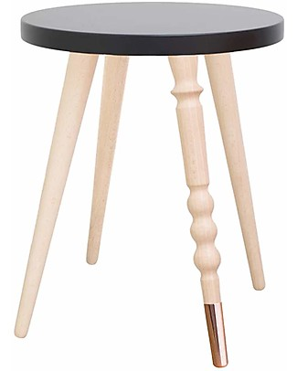 Jungle by Jungle Stool/Table My Lovely Ballerine – Black – Beech and Copper – Height 37 cm – Diameter 30 cm Tables And Chairs