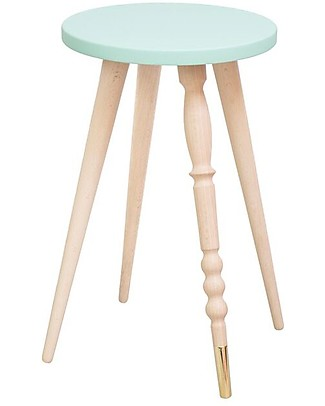 Jungle by Jungle Stool/Table My Lovely Ballerine – Mint – Beech and Brass – Height 47 cm – Diameter 30 cm Chairs