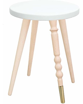 Jungle by Jungle Stool/Table My Lovely Ballerine – White – Beech and Brass – Height 37 cm – Diameter 30 cm Tables And Chairs