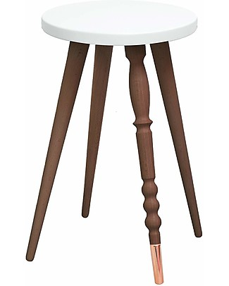 Jungle by Jungle Stool/Table My Lovely Ballerine – White – Walnut and Copper – Height 47 cm – Diameter 30 cm Tables And Chairs