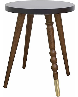 Jungle by Jungle Stool/Table My Lovely Ballerine - Black - Walnut and Brass - Height 37 cm - Diameter 30 cm Tables And Chairs