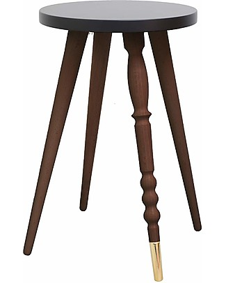 Jungle by Jungle Stool/Table My Lovely Ballerine - Black - Walnut and Brass - Height 47 cm - Diameter 30 cm Tables And Chairs