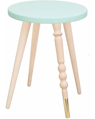 Jungle by Jungle Stool/Table My Lovely Ballerine - Mint - Beech and Brass - Height 37 cm - Diameter 30 cm Chairs