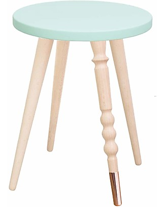 Jungle by Jungle Stool/Table My Lovely Ballerine - Mint - Beech and Copper - Height 37 cm - Diameter 30 cm Tables And Chairs