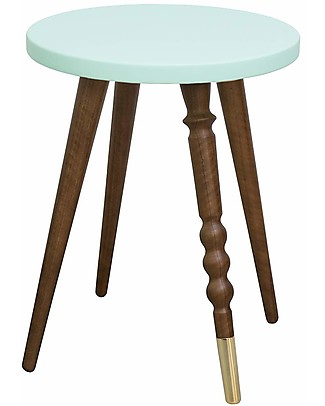 Jungle by Jungle Stool/Table My Lovely Ballerine - Mint - Walnut and Brass - Height 37 cm - Diameter 30 cm Tables And Chairs