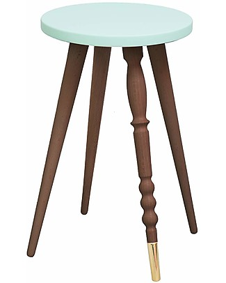 Jungle by Jungle Stool/Table My Lovely Ballerine - Mint - Walnut and Brass - Height 47 cm - Diameter 30 cm Tables And Chairs