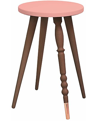 Jungle by Jungle Stool/Table My Lovely Ballerine - Old Pink - Walnut and Copper - Height 47 cm - Diameter 30 cm Tables And Chairs