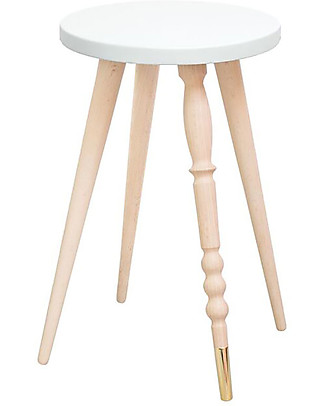 Jungle by Jungle Stool/Table My Lovely Ballerine - White - Beech and Brass - Height 47 cm - Diameter 30 cm Tables And Chairs