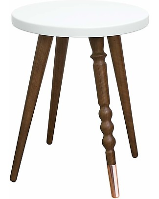 Jungle by Jungle Stool/Table My Lovely Ballerine - White - Walnut and Copper - Height 37 cm - Diameter 30 cm Tables And Chairs