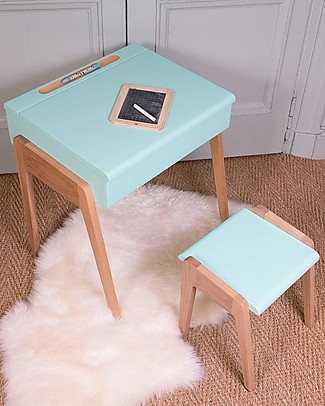 Jungle by Jungle Wooden Stool foMy Little Pupitre Children Desk – Bleached Oak/Mint – Ideal from 3 to 6 years! Chairs