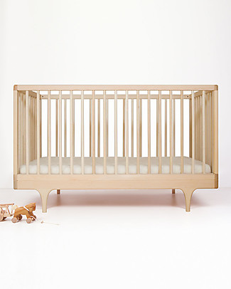 Kalon Studios Caravan Crib Natural Oiled Maple Wood - Converts to Junior Bed 0-6 years Cots & Cotbeds