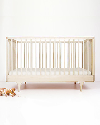 Kalon Studios Caravan Crib Raw Maple Wood - Converts to Junior Bed 0-6 Years Cots & Cotbeds