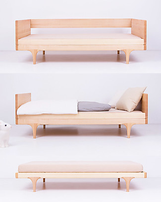 Kalon Studios Caravan Divan Junior Bed - Natural Raw Maple Wood  Single Bed