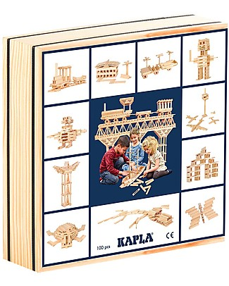 Kapla Kapla 100, Wood Tablets, Natural - Fun and educational! Wooden Blocks & Construction Sets