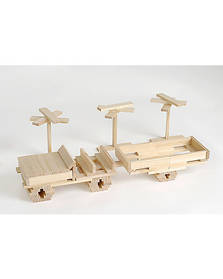 Kapla Kapla 280, Wood Tablets + Technical Booklet + Ecru Art Book, Natural - Fun and educational! Wooden Blocks & Construction Sets