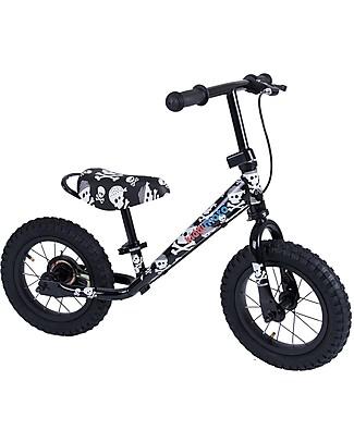 Kiddimoto Balance Bike Super Junior Maxi + Bike Helmet, Skulls Balance Bikes