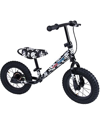 Kiddimoto Balance Bike Super Junior Maxi with Helmet, Skulls Balance Bikes