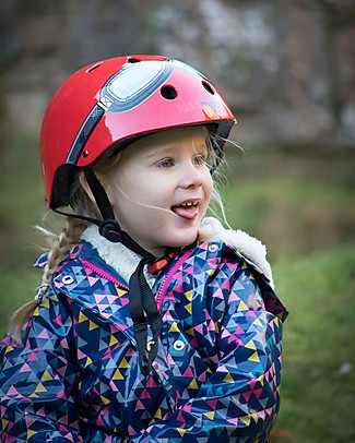 Kiddimoto Kids Bike Helmet with Goggles, Red  Bycicles