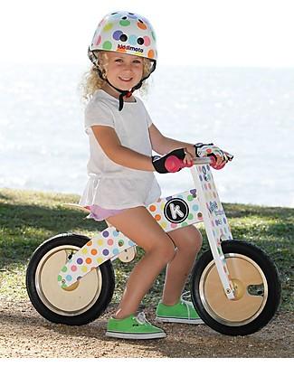 Kiddimoto Wooden Balance Bike Kurve, Pastel Dotty  Balance Bikes