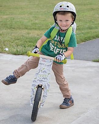 Kiddimoto  Wooden Balance Bike Kurve with Helmet, Fossils Balance Bikes