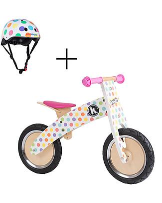 Kiddimoto Wooden Balance Bike Kurve with Helmet, Pastel Dots Balance Bikes