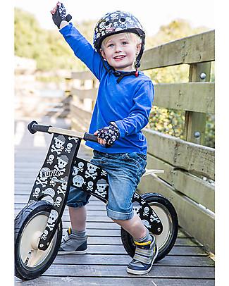 Kiddimoto Wooden Balance Bike Kurve with Helmet, Skulls Balance Bikes