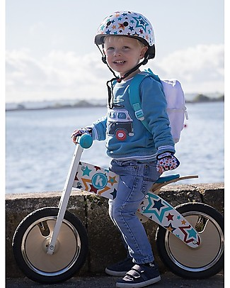 Kiddimoto Wooden Balance Bike Kurve with Helmet, Stars Balance Bikes