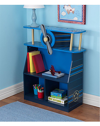 KidKraft Airplane Bookcase for Kids with Three Levels - Wood Bookcases