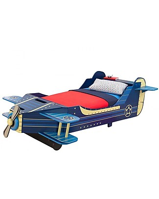 KidKraft Airplane Toddler Bed with Storage Space - Wood Single Bed