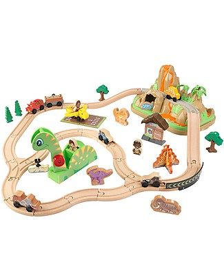 KidKraft Dinosaur Bucket Top Train Set, with many Dinos! - Wood Wooden Toy Cars, Trains & Trucks