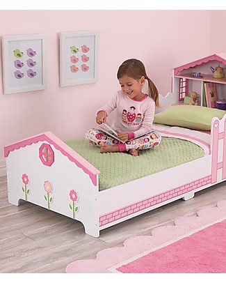 KidKraft Dollhouse Toddler Bed with Storage Space - Wood Single Bed