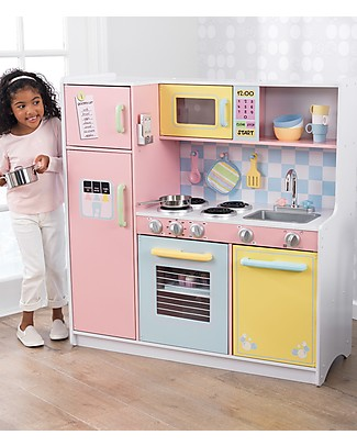 KidKraft Large Pastel Play Kitchen, Colorful and Big - Wood Creative Toys