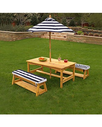 KidKraft Outdoor Table and Bench Set with Cushions & Umbrella - Wood Outdoor Games & Toys